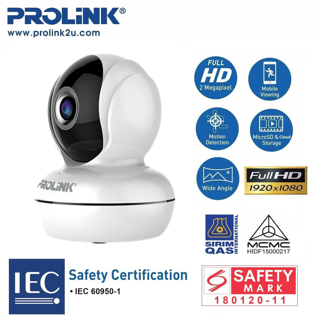 PROLiNK SmartCam Lite Full-HD Pan/Tilt Wireless IP Camera Smart Home Ready PIC3003WP