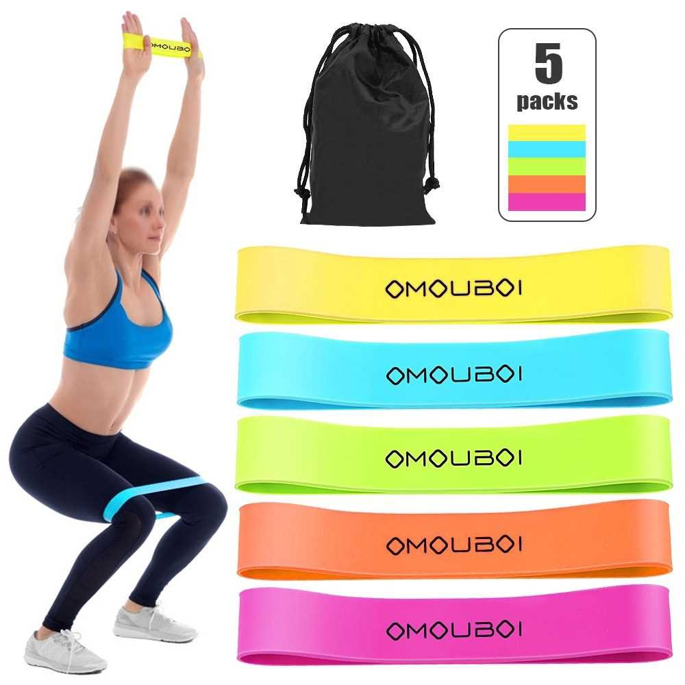 Pack of 5 Resistance Loop Bands Exercise Bands with Carry Bag Strength Training Workout Bands Home Gym Fitness Physical