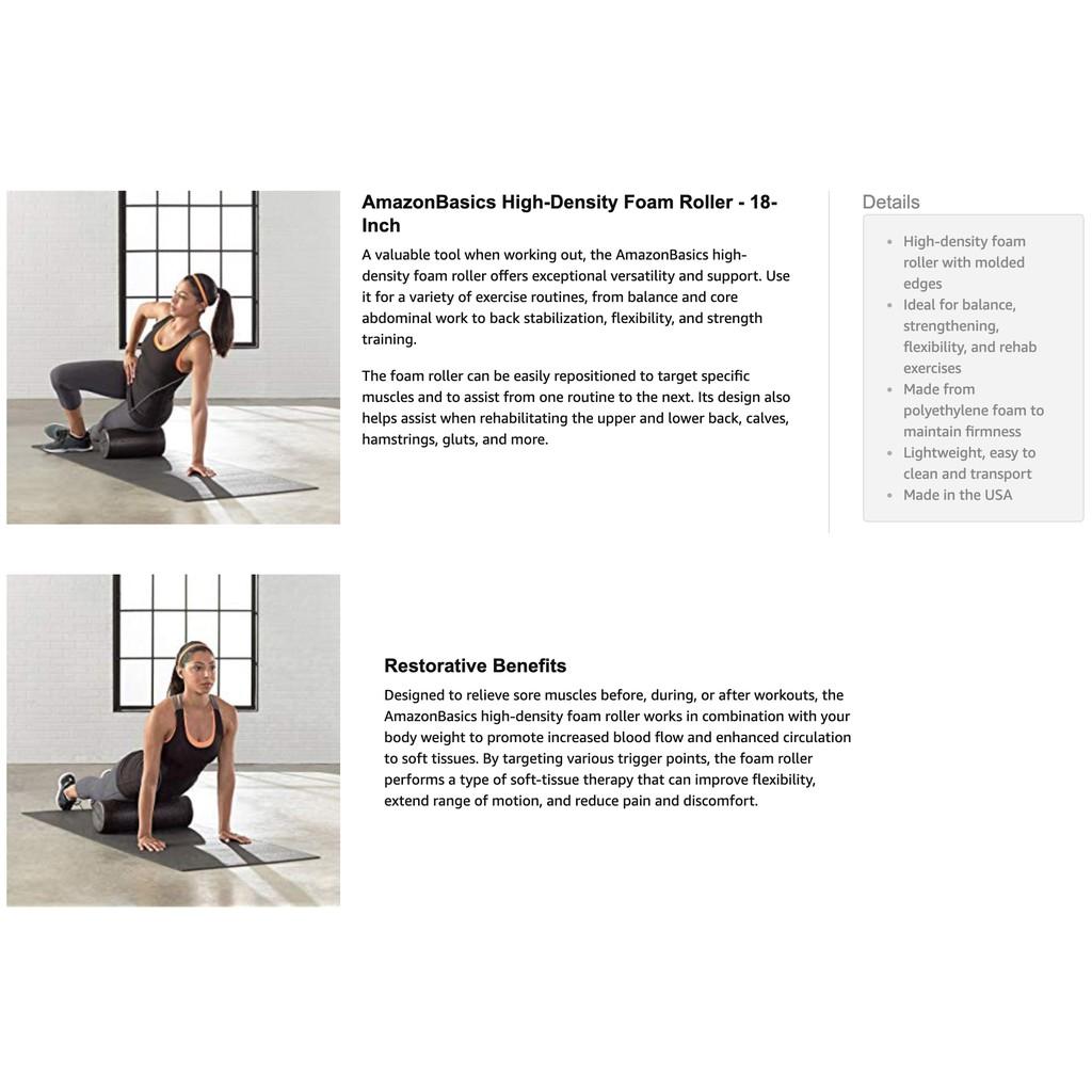 AmazonBasics High-Density Round Foam Roller, Black, 18inch | Shopee