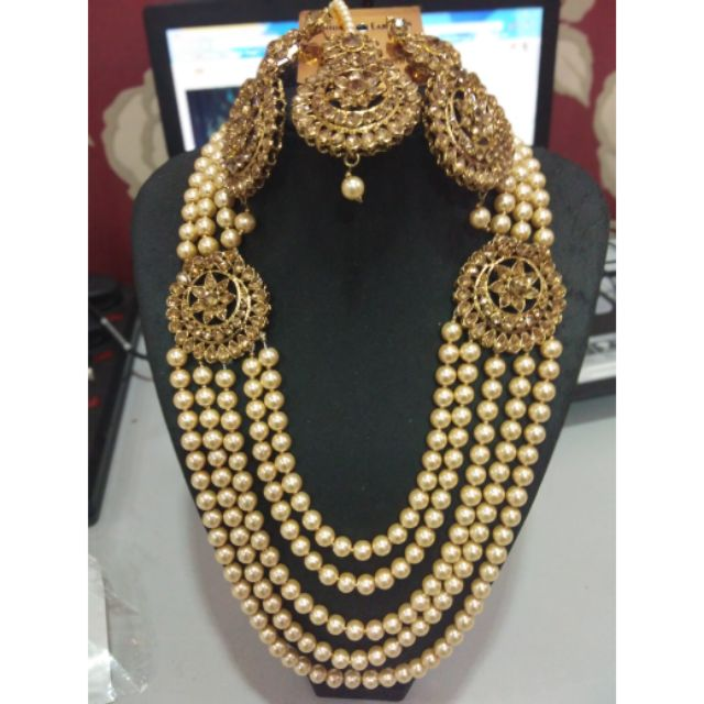 Kundan Long Haram Jewellery Indian Bridal Semi Set Shopee Malaysia