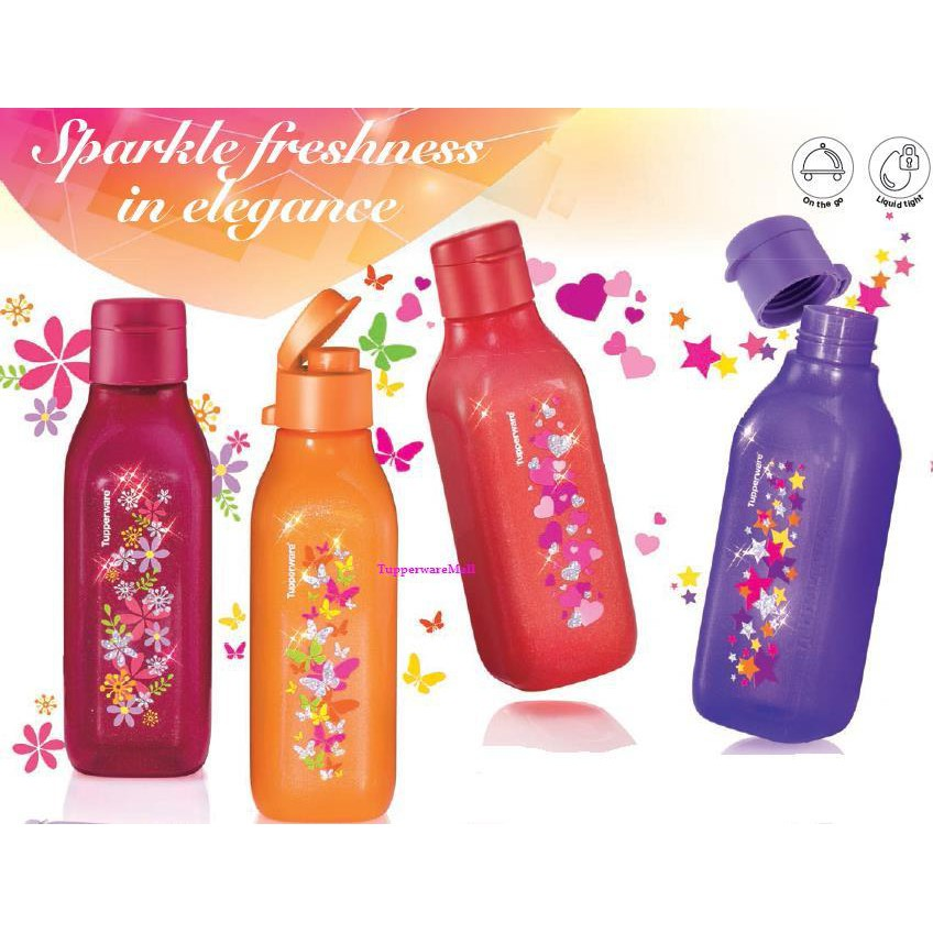 TUPPERWARE SPARKLE SQUARE ECO BOTTLE NEW 500ML(1pcs-Orange