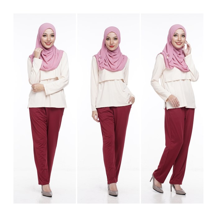 Seluar Kasual Maroon Ibu Mengandung by Qissara Maternity Friendly Casual Maroon Pants