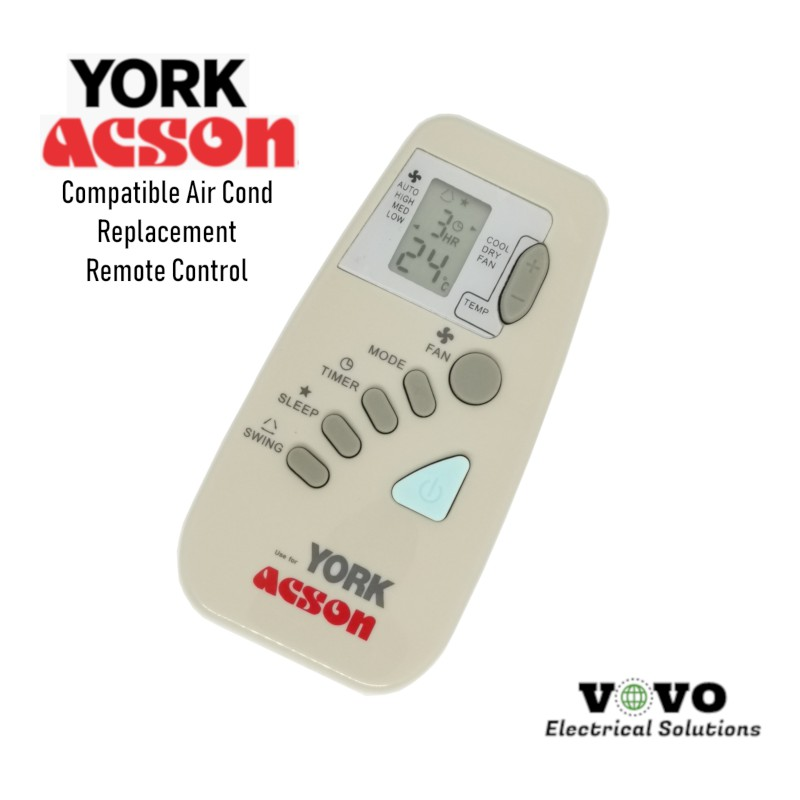 YORK ACSON Air Cond Replacement Remote Control [FOC Battery]
