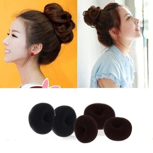 1pcs Fashion Lady S Girls Sponge Hair Styling Tool Bun Maker Ring Donut Doughnut Shape Brown Shopee Malaysia
