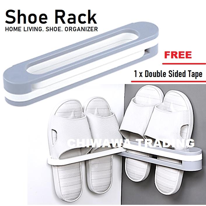 Buy 4 Free 1  DIY Folding Save Space Wall Mounted Layer Shoe Rack Shoes Storage Towel Organizer Rak Kasut