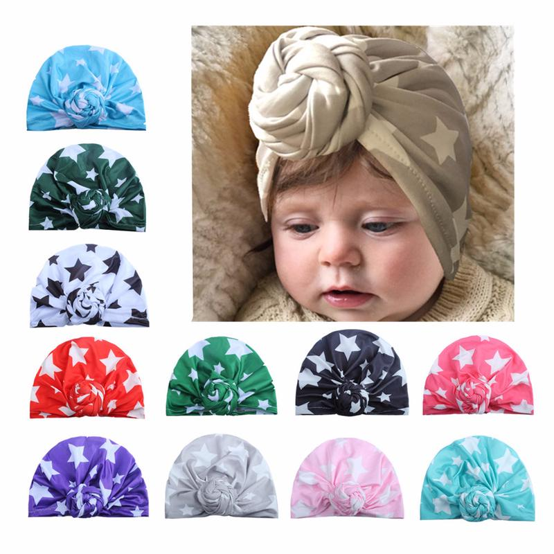 08da5d4ba Boys Girls Soft Milk Silk Cap Pentagram Head Wrap Turban Baby Indian ...