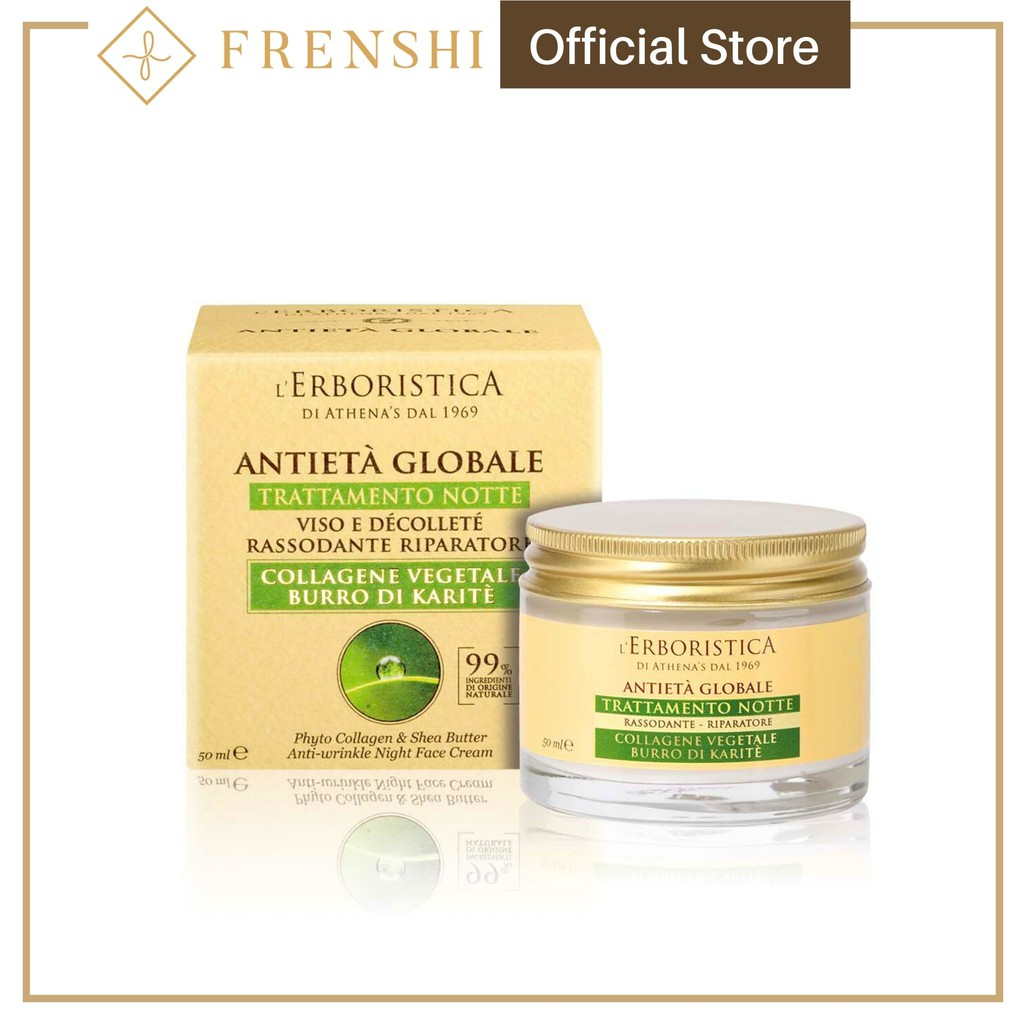 Frenshi L'Erboristica (Made in Italy) - GLOBAL AGE PHYTO COLLAGEN & SHEA BUTTER ANTI-WRINKLE NIGHT CREAM 50ML