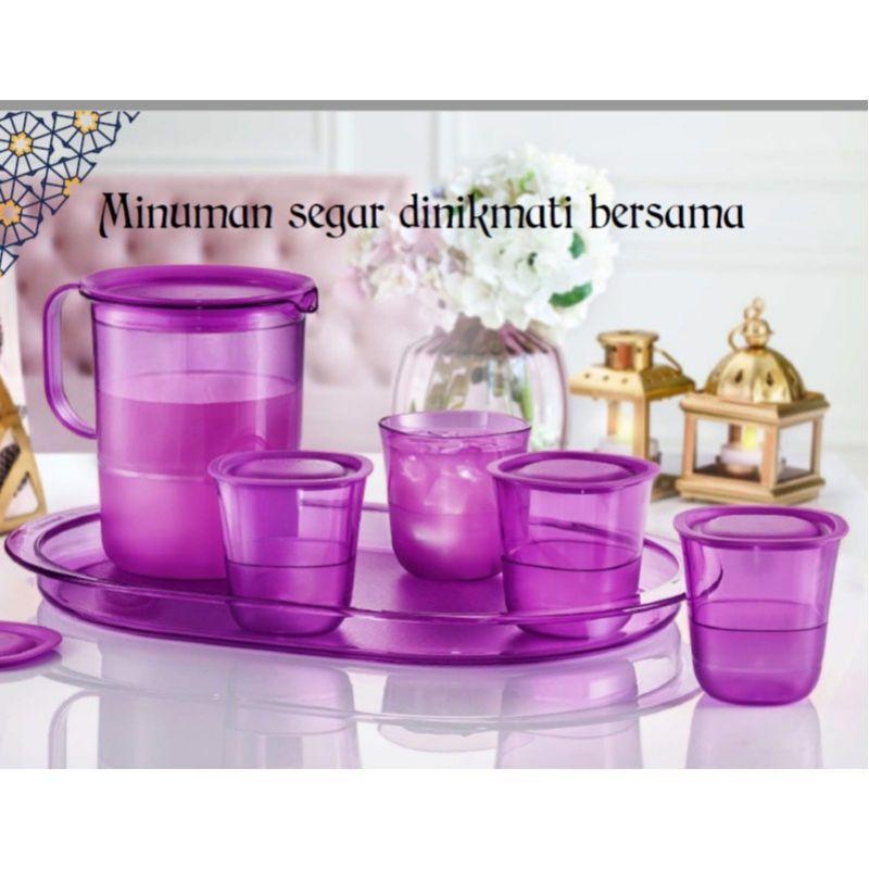 tupperware Purple Royal Crystalline Drinking Set~ Pitcher 1.2L (1)Short Glass(4) 230mlServing tray(1)
