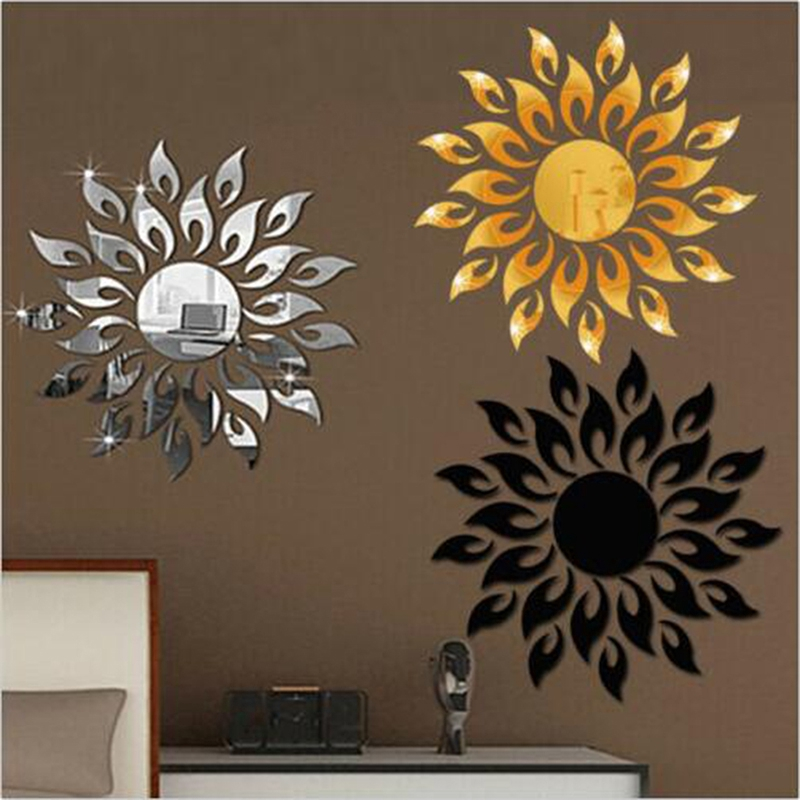 US HOT Home Removable Feather Mirror Wall Stickers Decal Art Vinyl Decor Mirror