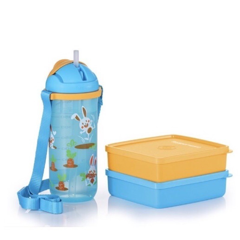 Tupperware Happy Bunny Lunch Set / Twinkle Straw Tumbler 500ml / Square Away 400ml