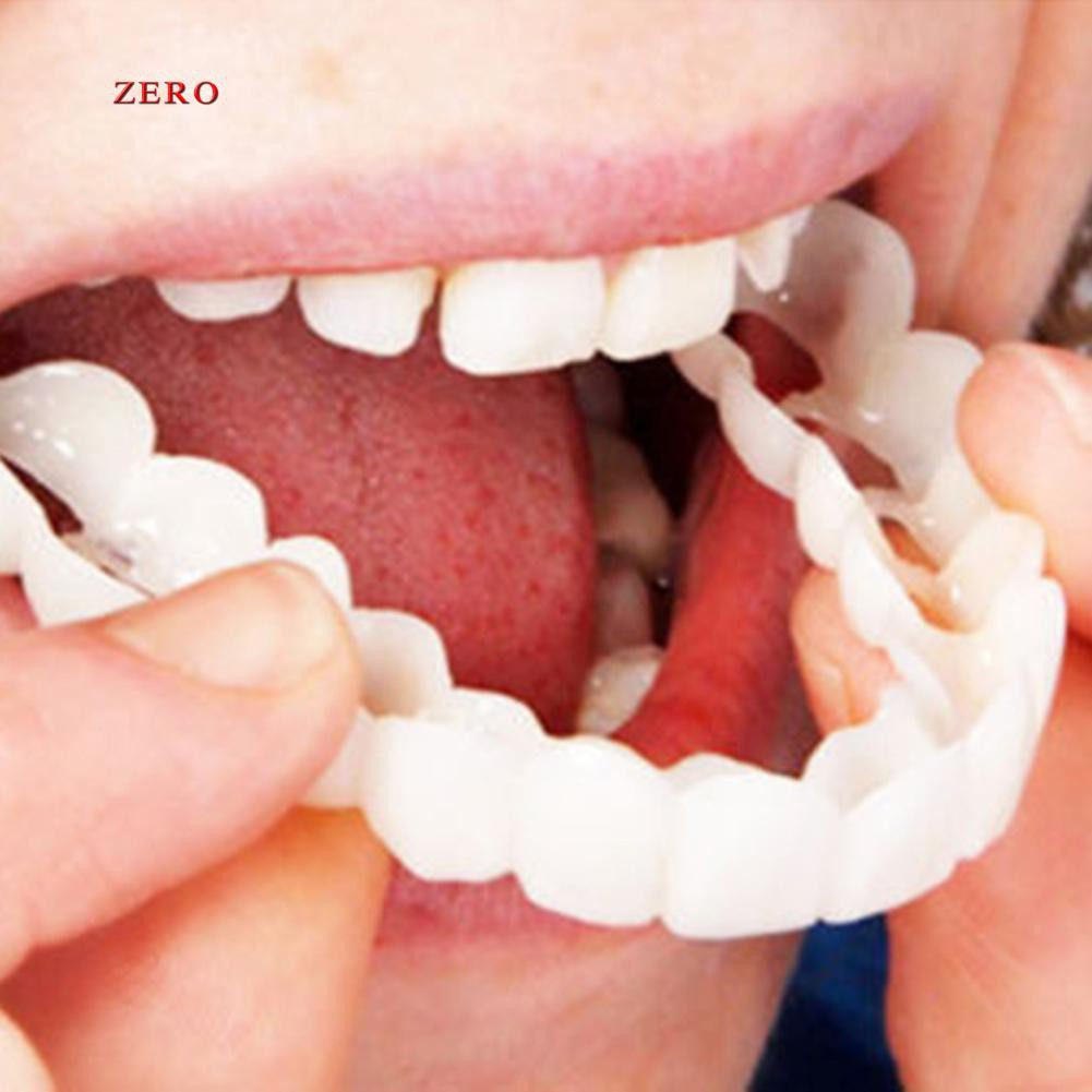 【Zero】2Pcs/Set Comfort Fit Flex White Fake Teeth Top Veneer Denture