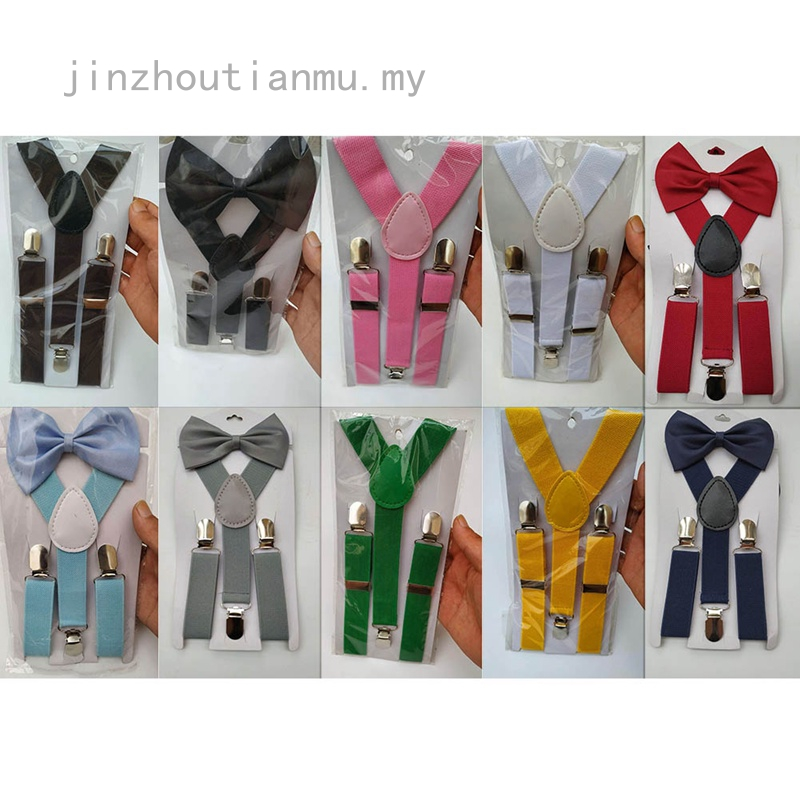 Kids New Design Suspenders and Bowtie Bow Tie Set Matching Ties Outfit New