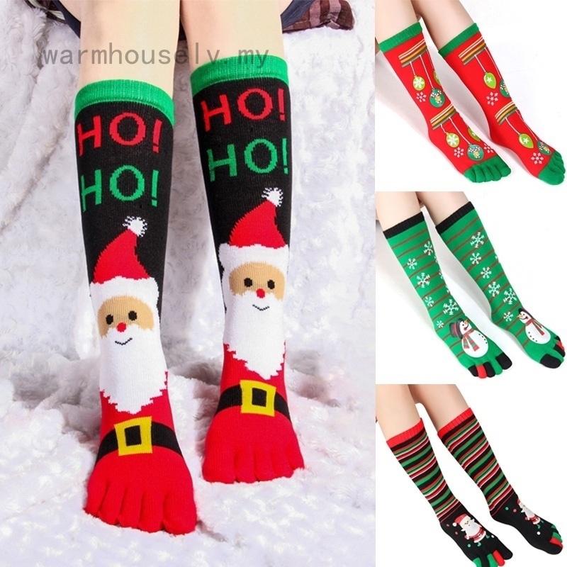 Individual New Christmas Print Multicolor Toe Socks Five Finger Socks Cotton Funny Socks Soft Warm Christmas Gift