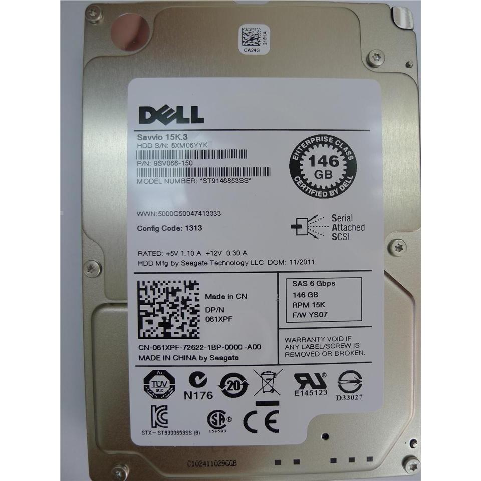 DELL 146GB 15k RPM 64MB Cache SAS 6Gb/s 2 5' hdd ST9146853SS 061XPF