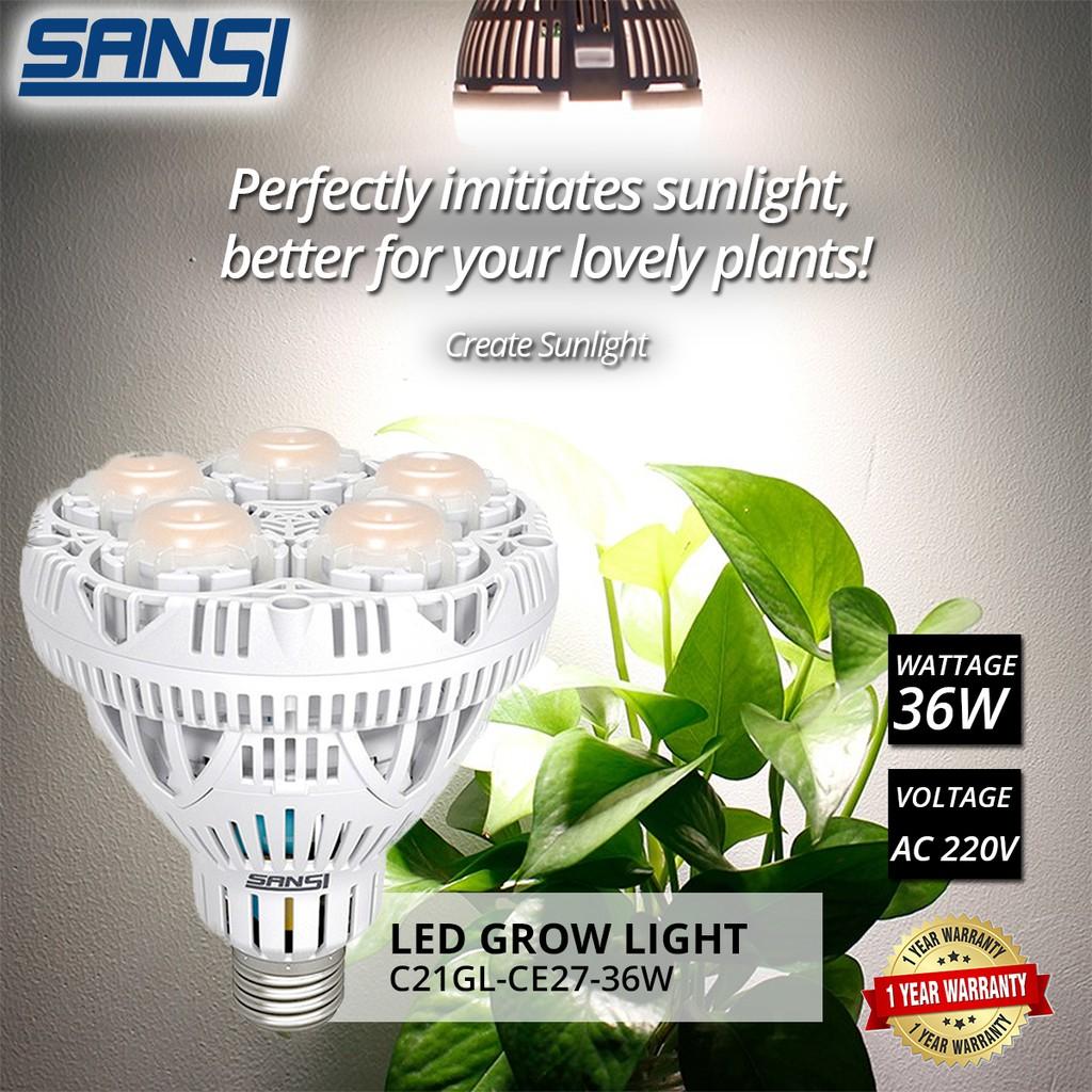 SANSI 36W LED Grow Light Bulb Full Spectrum 36W Daylight For Indoor Garden Houseplants