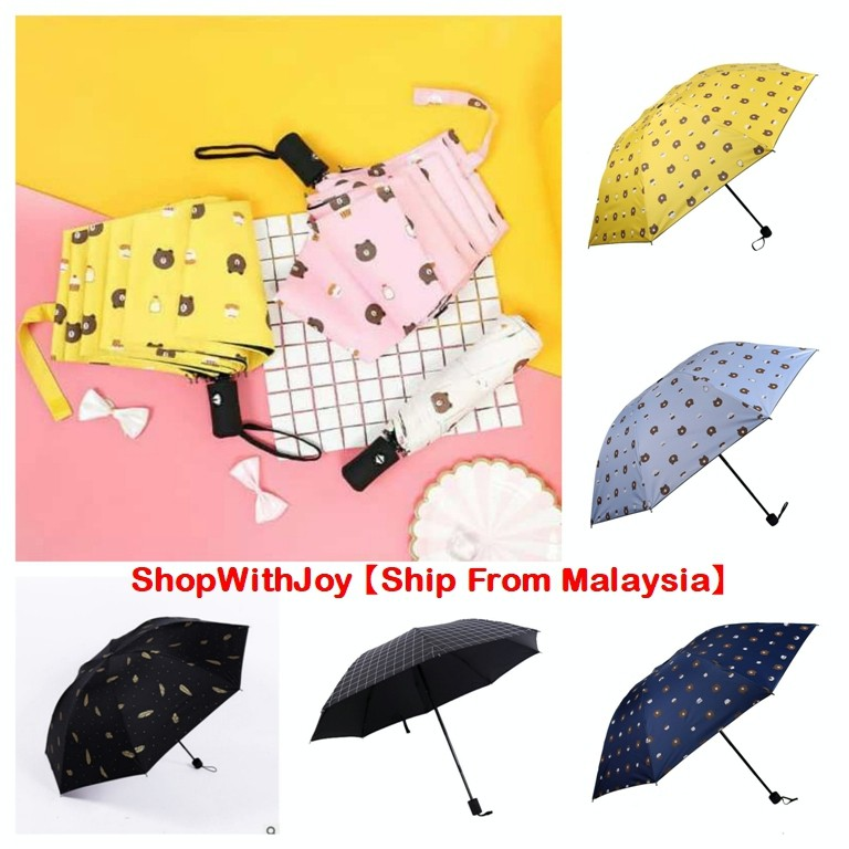 731eadeb7698 【Flash Sales】Anti-Wind Ultraviolet Three Fold Black Coating Brown Bear  Umbrella