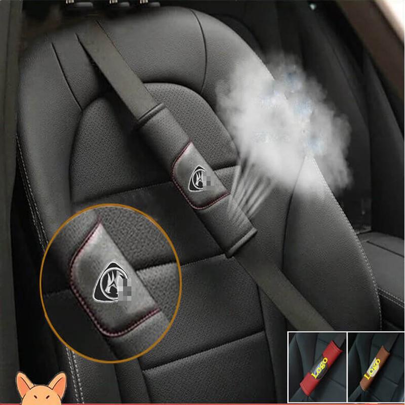Set of 2 Seatbelt Pad in Black seatbelt Pad made of 100/% Genuine Leather