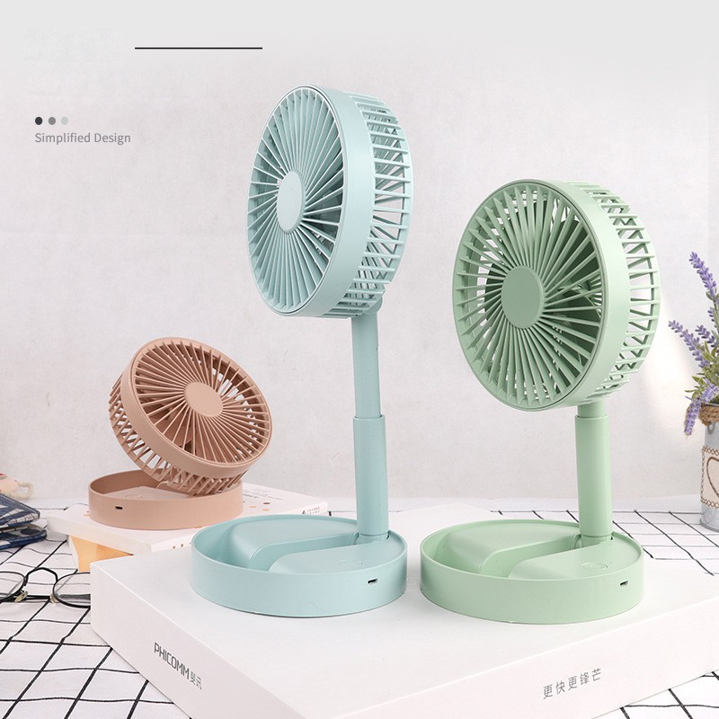 3 Mode USB Foldable Wood Grain Fan Desktop Mute Silent Operation Travel Camping Hiking Cooler 1200mAh
