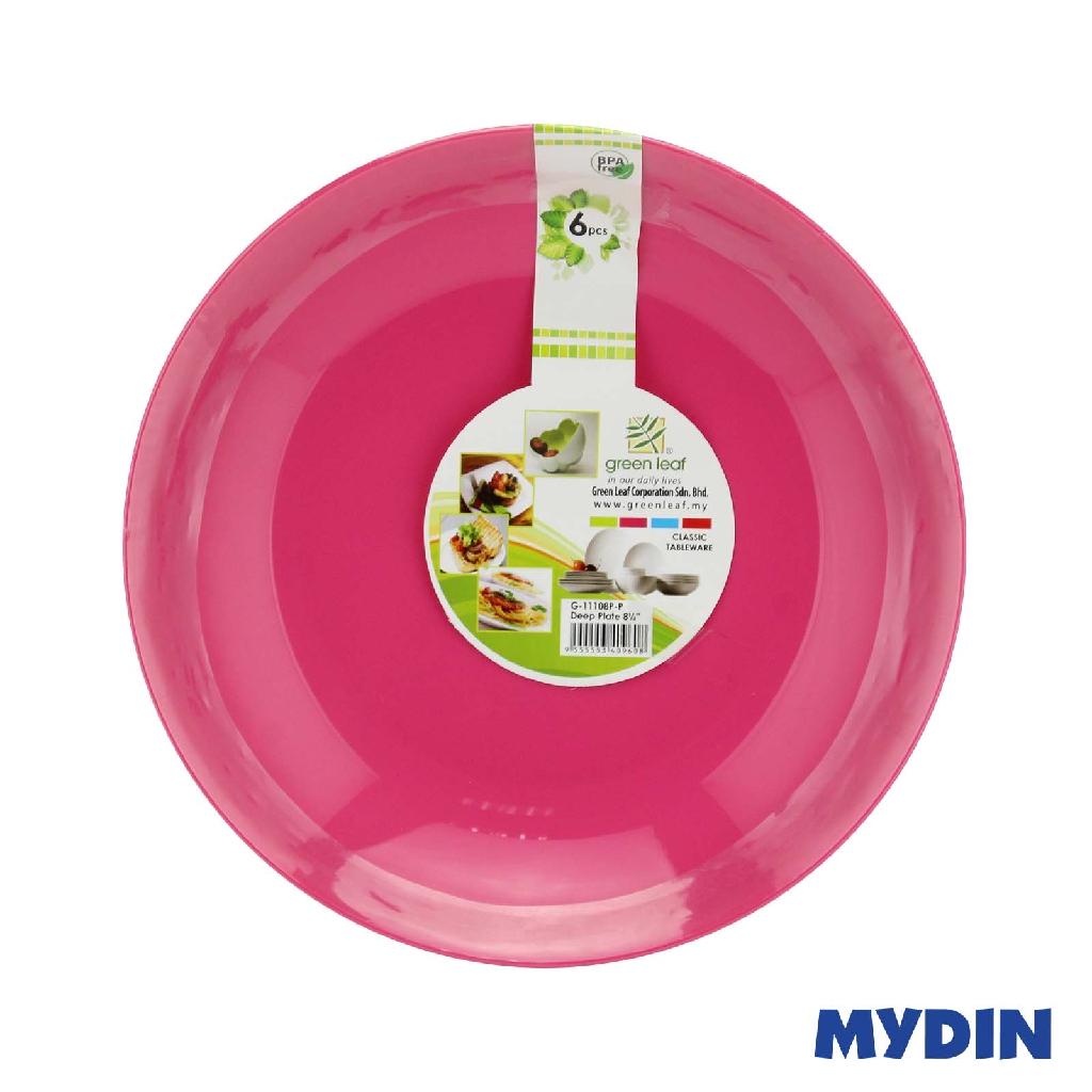 "Green Leaf Deep Plate 8.5"" 6s G-11108P - Pink"