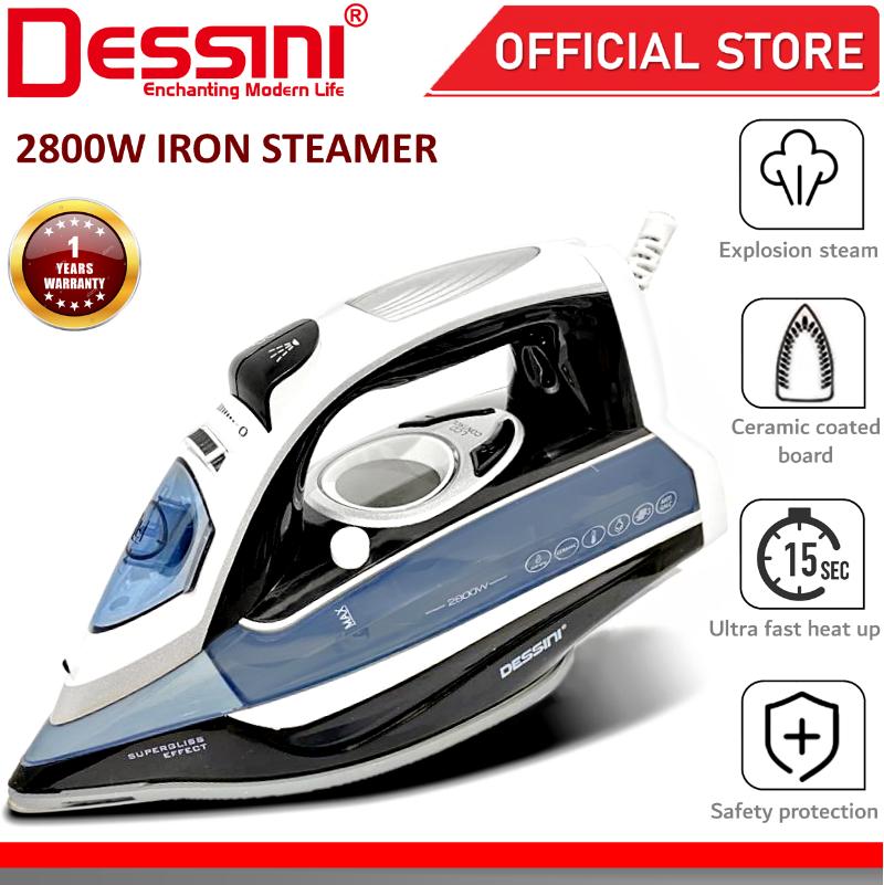 DESSINI ITALY LCD Electric Ceramic Soleplate Garment Steam Iron Sprayer Steamer Clothes Brush Seterika Baju (2800W)