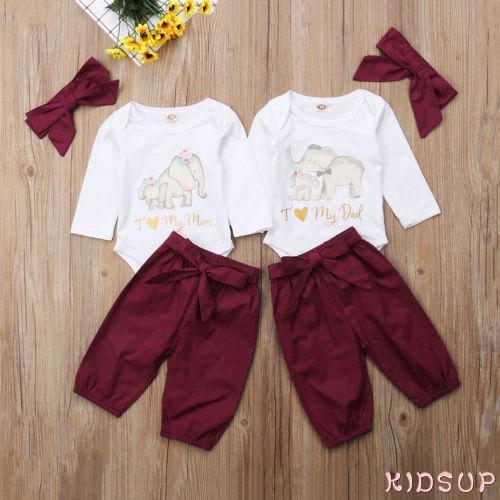 49b048fec PPD-Newborn Kids Baby Girls Love Dad Mom Romper Jumpsuit Tops ...