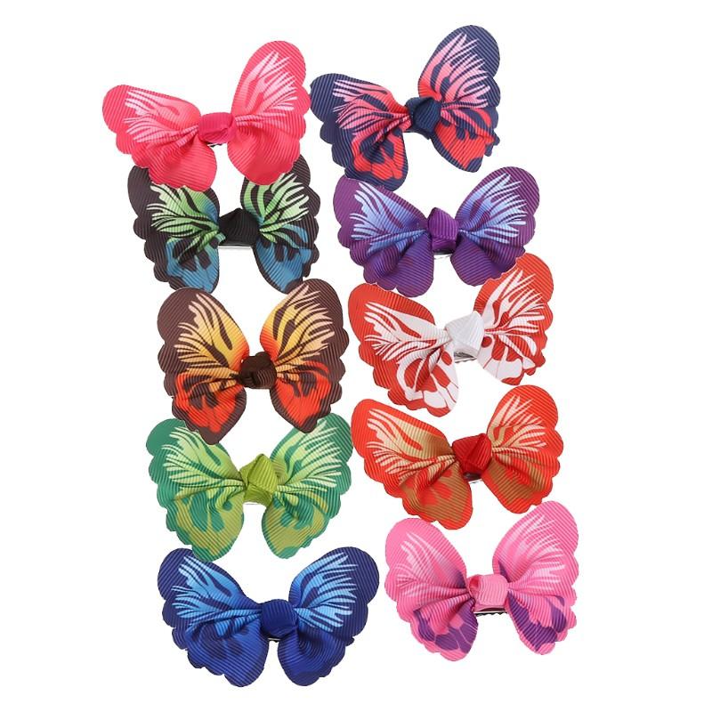 10 Pcs cute kids girls toddler baby 3D butterfly hair clips grosgrains hairp P2