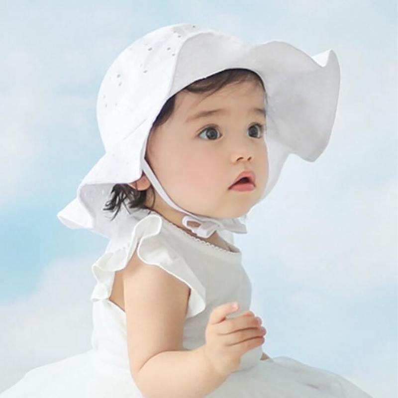 Bonnet Beach Bucket Hat Baby Newborn Infant Christening Sun Summer Cap Lace H