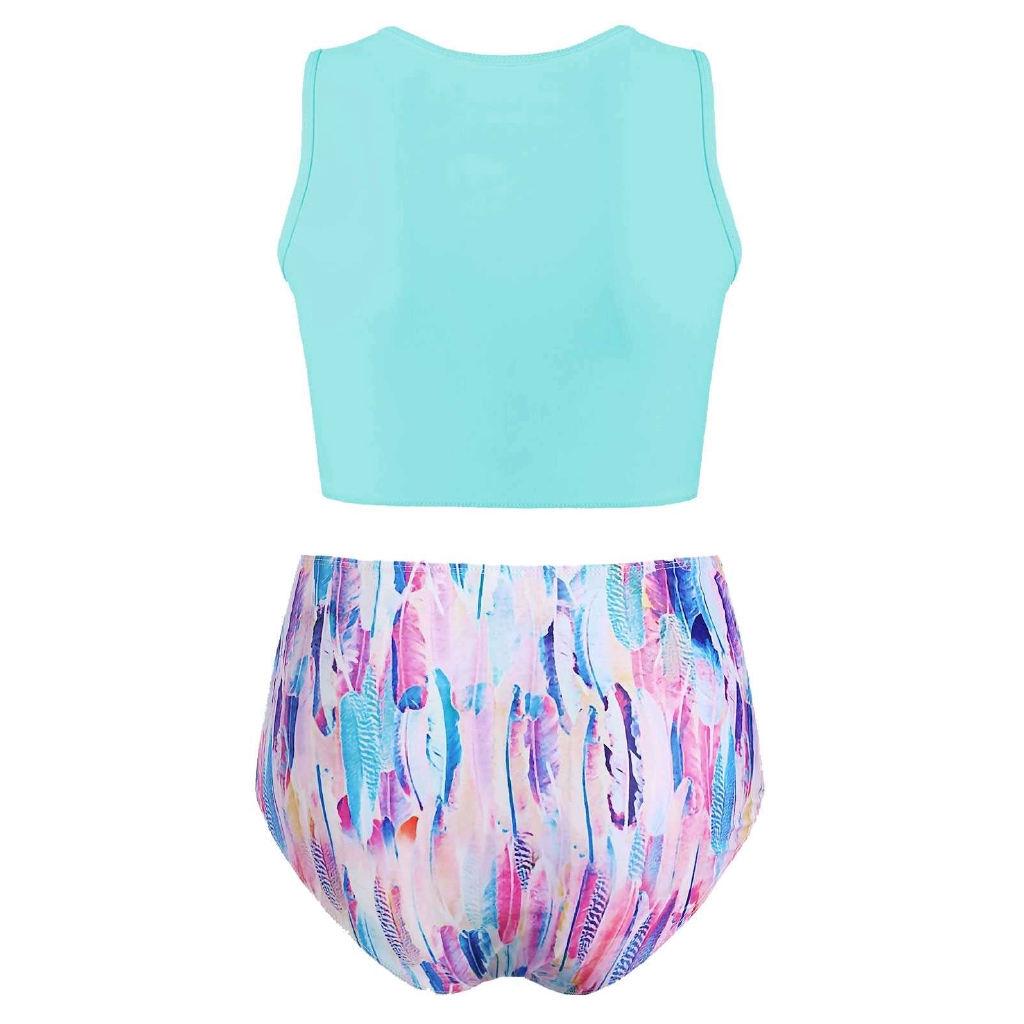 Feather Printed Twist Front Padded Tankini Swimsuit (Tron Blue)