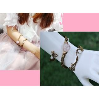 Lower Arm Cuff Wire Wrap Bracelet Spiral Love Body Jewelry Rose Quartz