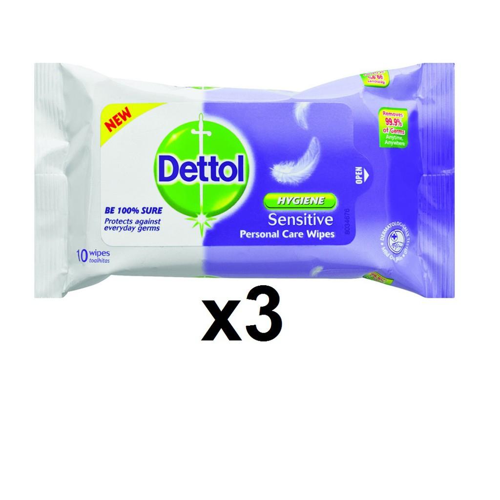 Dettol Hygiene Sensitive Personal Care Wipes  (3 x 10's)