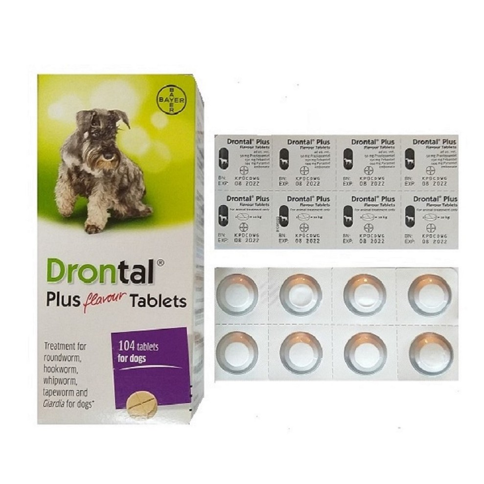 Bayer Drontal Plus Flavour Tablets For Dogs (104 Tablets)