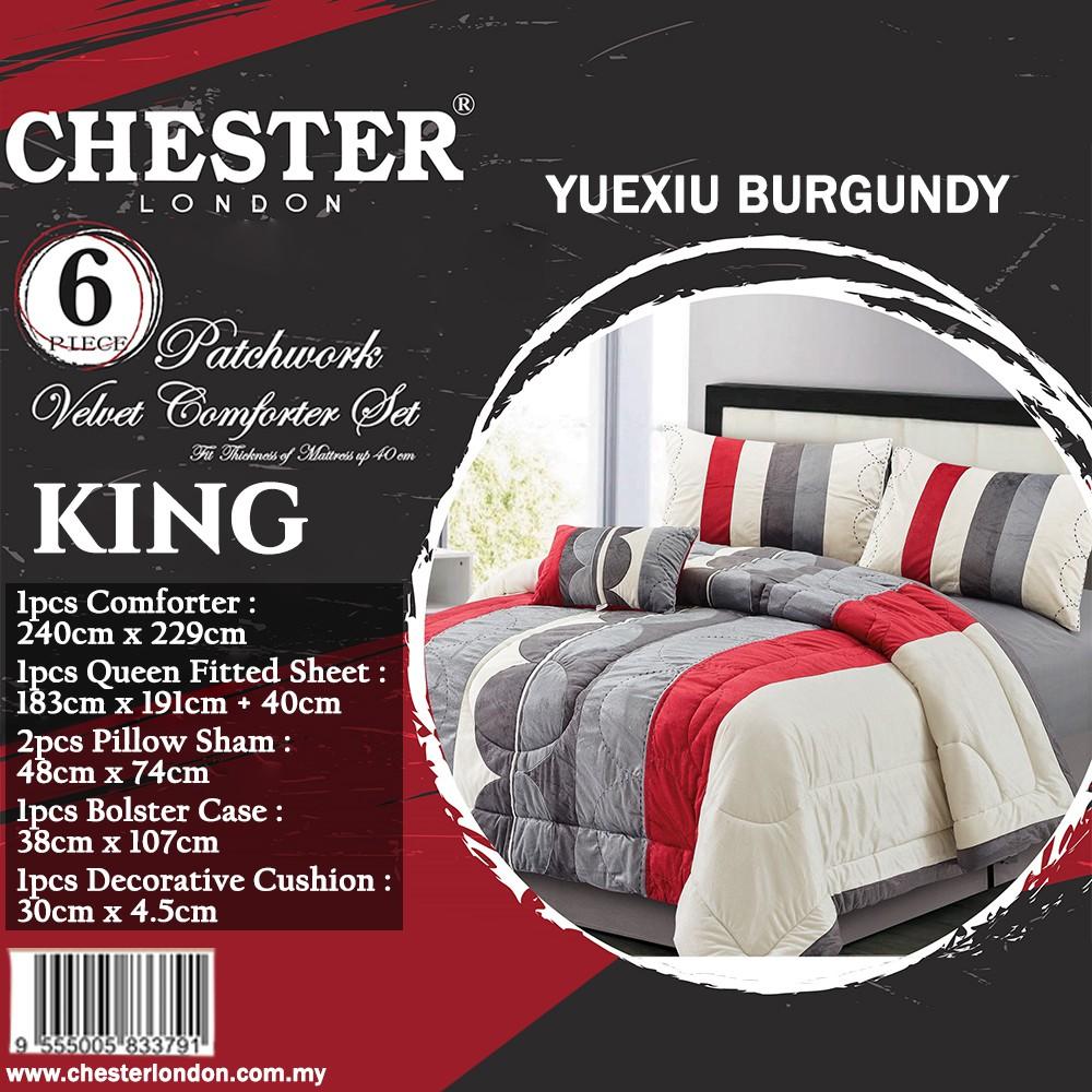 Chester London 6pcs Patchwork Velvet Comforter Set , KING -YUEXIU
