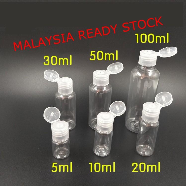 [Flip cap] PET Plastic Bottle 5ml, 10ml, 20ml, 30ml, 50ml, 100ml, Travel bottle