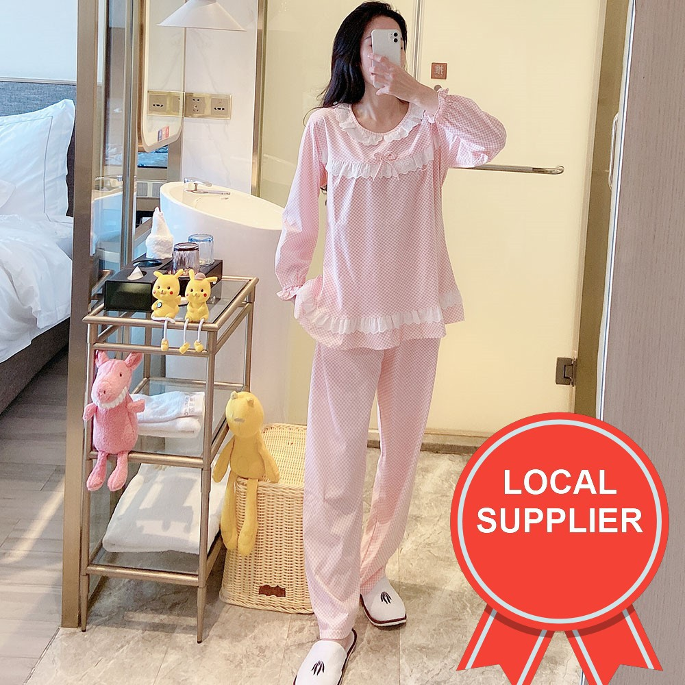 print women nightwear long sleeve beautify comfort Sleepwear set pyjamas clothing Size: XL, L