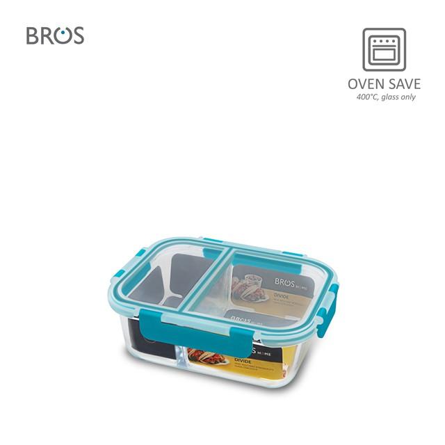 BROS Glass Container Divide Rectangular - 2 Com (850ml)