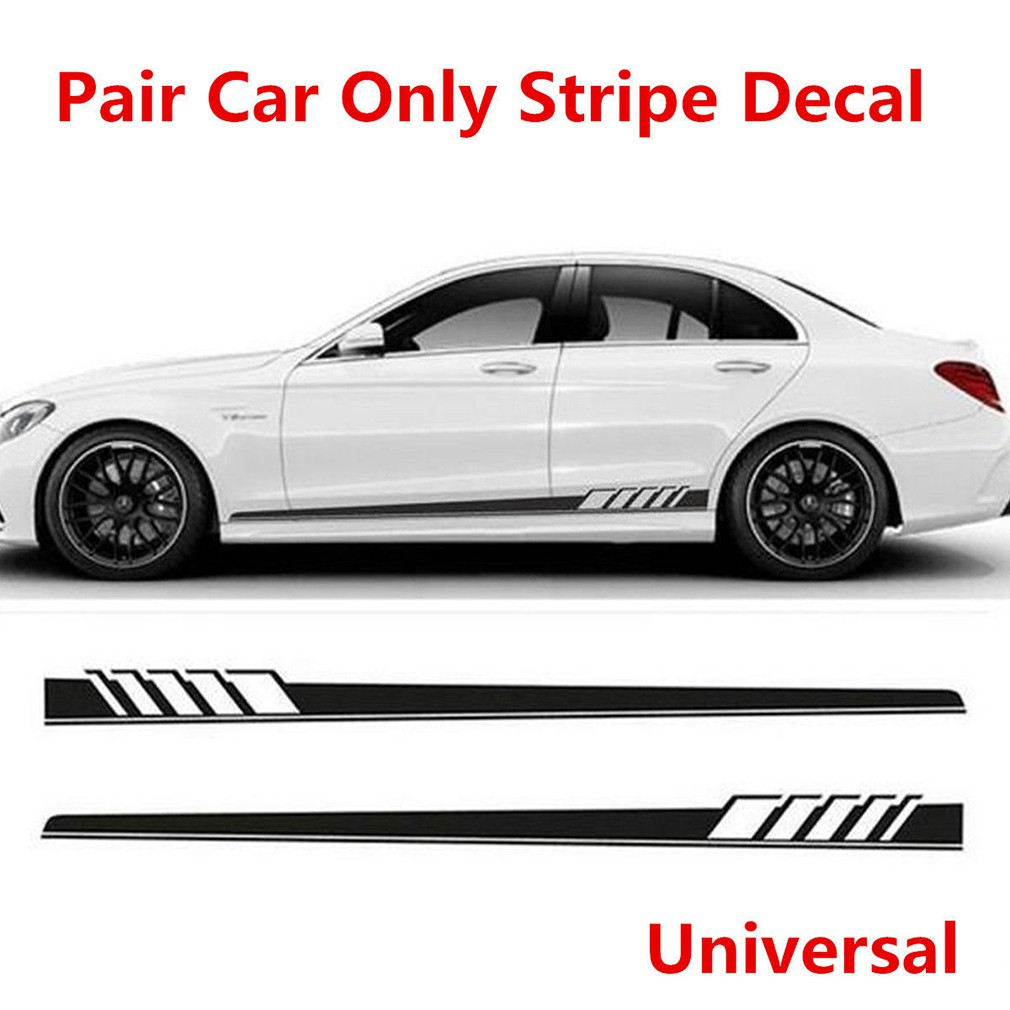 2pcs car side body vinyl decal sticker sports racing race car long stripe decals shopee malaysia