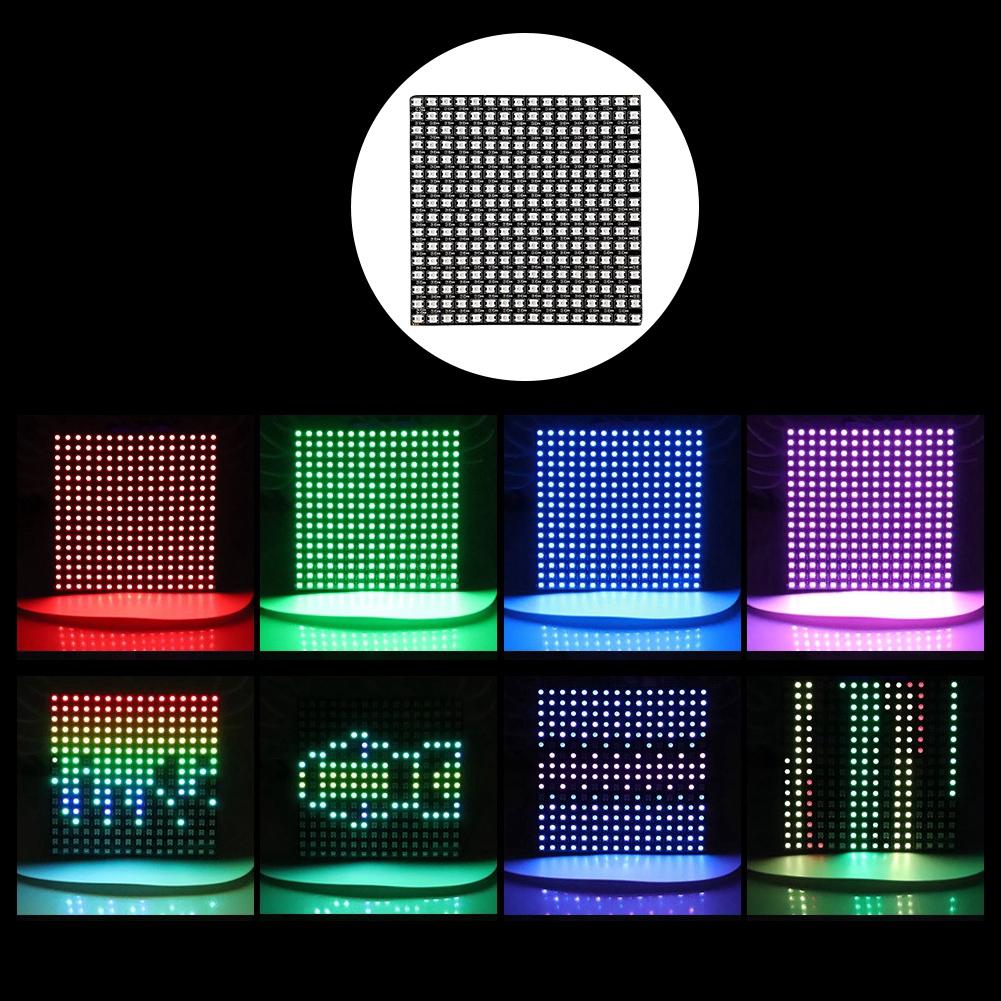 ✿disuu✿ WS2812B RGB 16*16 Pixels Digital Flexible Dot Matrix Individually  Addressable LED Display Scree