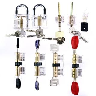 Practice Lock Set Transparent Visible Cutaway Crystal Pin Tumbler Keyed Padlock lock