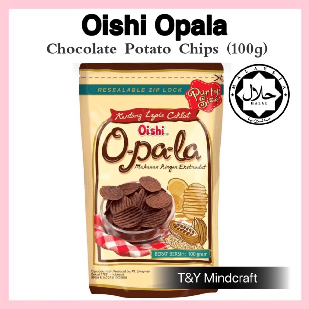 [TNY] Oishi Opala Chocolate Potato Chips Snacks (Halal) 100g