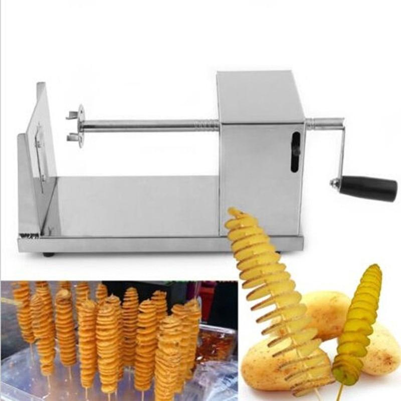 4 pcs Stainless Steel Potato Twister Tornado Slicer Manual Cutter Spiral Chips