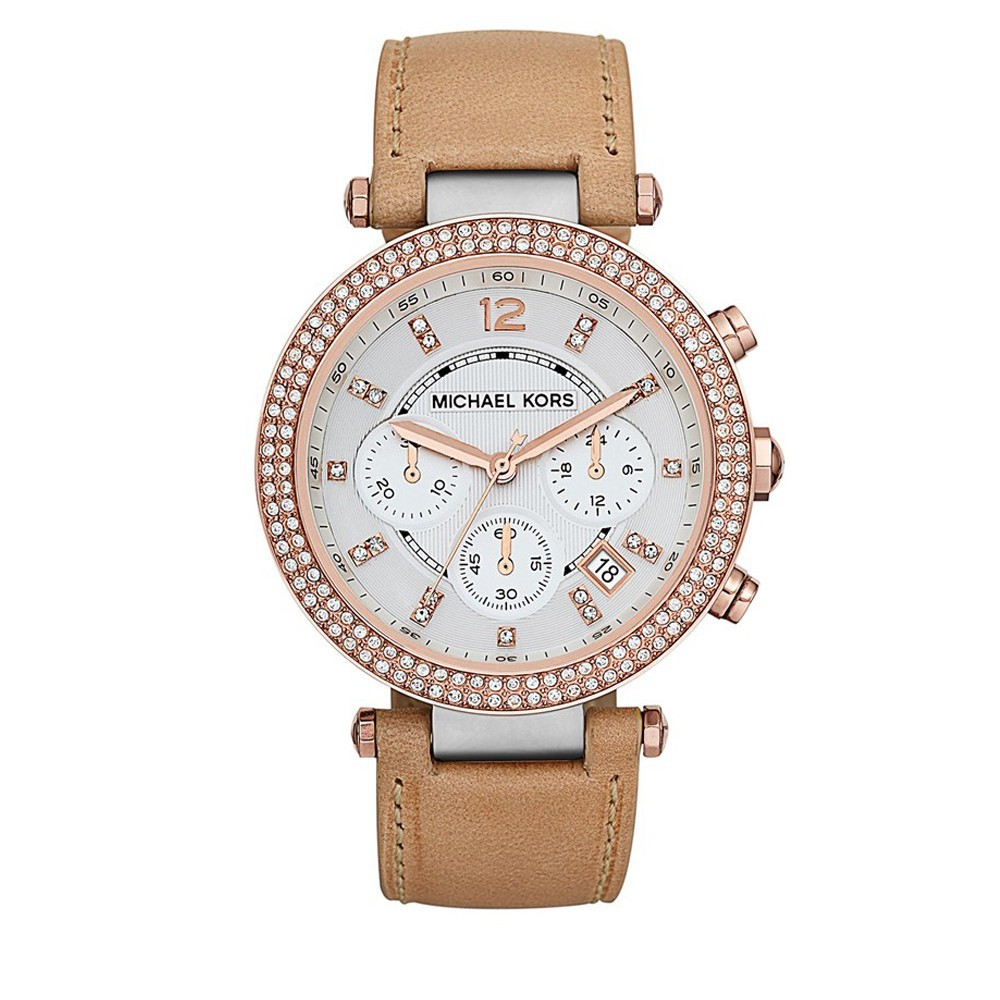 9abcb9fabf11 MK Michael Kors Women s Parker Chronograph Leather Crystal Bezel Watch  MK2277