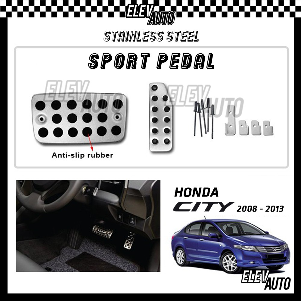 Honda City 2008-2013 Stainless Steel Sport Pedal with Anti-slip Rubber