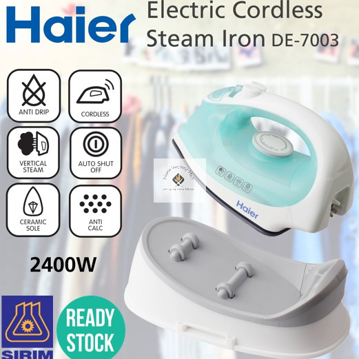 HAIER ELECTRIC CORDLESS STEAM IRON 2400W 80G SAFETY DE-7003