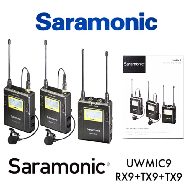 Saramonic UwMIC9 96-Channel Digital UHF Wireless Dual Lavalier Microphone System Includes 2x TX9 Bodypack Transmitter and RX9 Portable Receiver