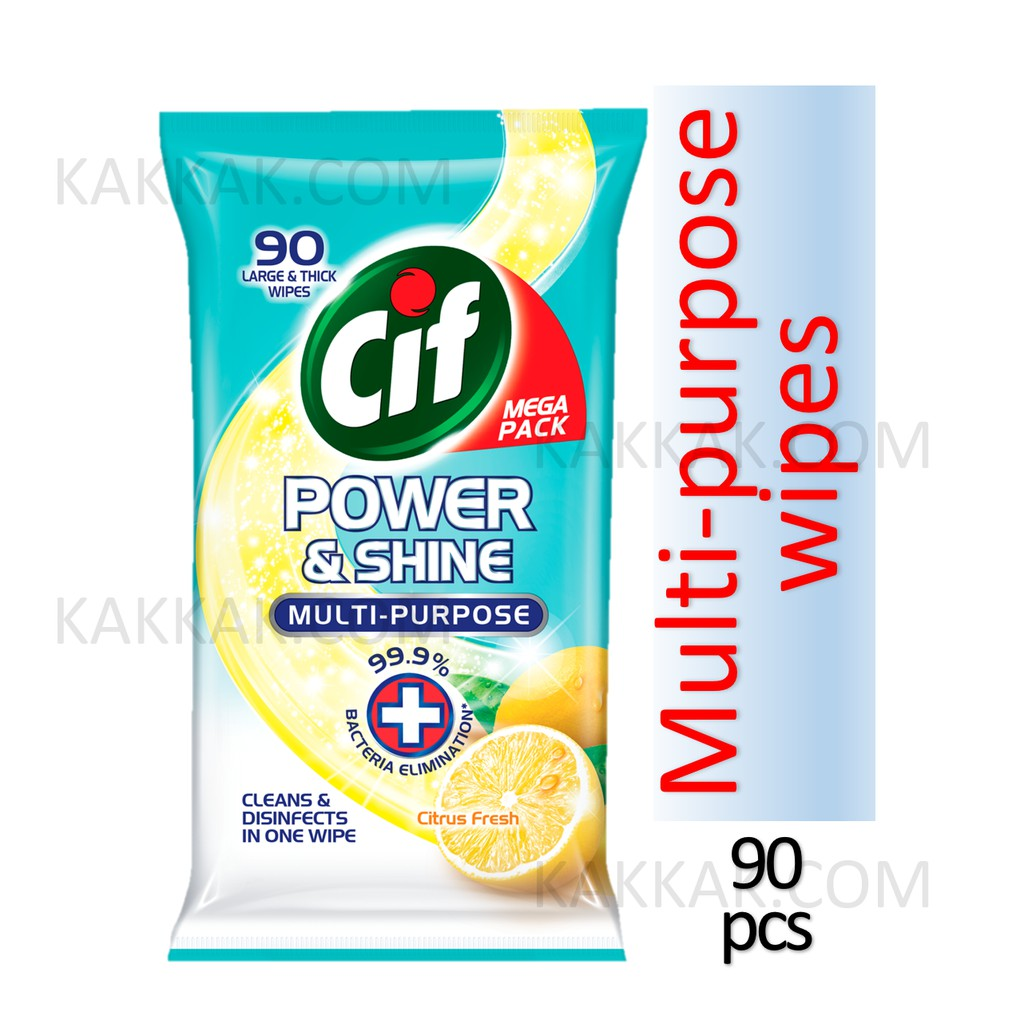 Cif Power & Shine Anti-Bacterial Multipurpose Wipes With Citrus Fresh Scent (90 pcs)