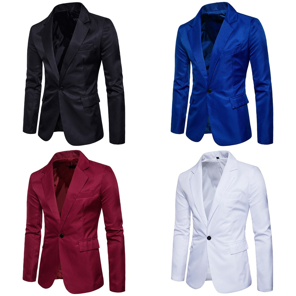 Color Blazer British Suit Coat Men Wedding Suit Black Suit White Red Suit Shopee Malaysia