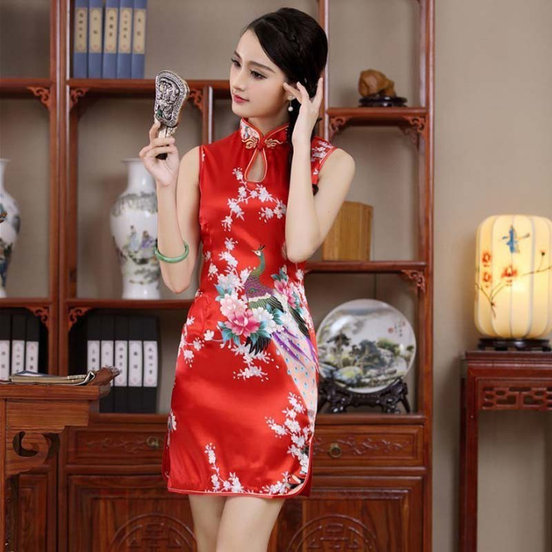 6652a022d Chinese Cheongsam Dress Flower Satin Slim Summer Short Qipao Dresses Tang  Suit | Shopee Malaysia
