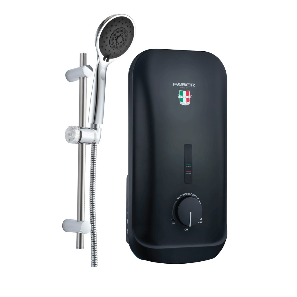 FABER FWH SOTTILE 307 (BK) 3.6kW NON PUMP WATER HEATER with CHROME SLIDING SHOWER HEAD