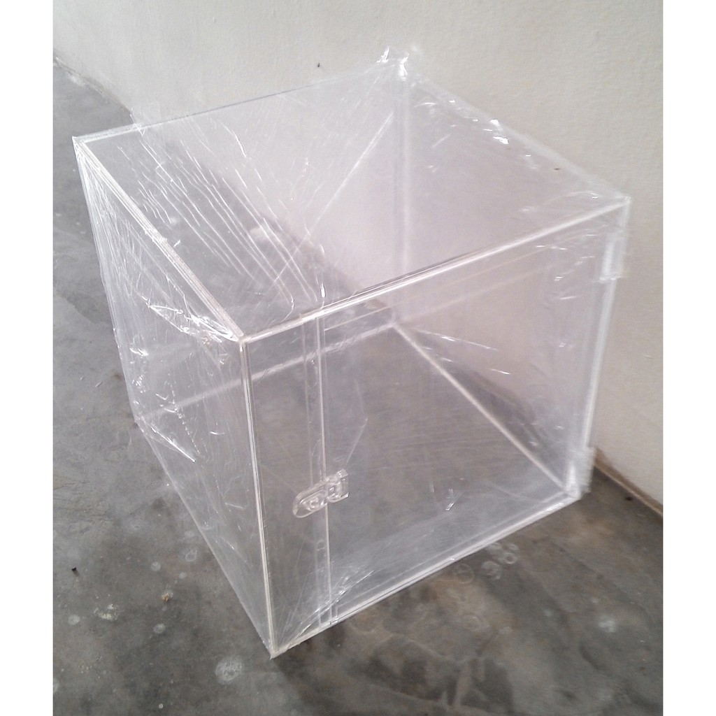 15 x 15 x 15in Acrylic Tender Box With Front Insertion Hole With Side Door