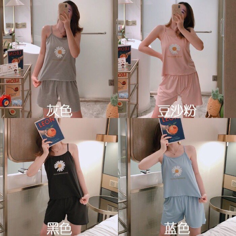 [READY STOCK] WOMEN COTTON SLEEVELESS SLEEPWEAR PYJAMAS SET WITH PRINTED DESIGN - 4 COLOURS